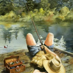 """McKenzie River Inspirations : Catchin' Zs, Watercolor painting by Linda Abblett of a man sleeping while fishing by a river. Original 22"""" x 15"""" $800; Giclee 20"""" x 14"""" $130"""