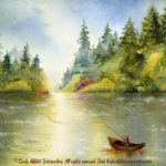 """McKenzie River Inspirations : Gone Fishin, Watercolor painting of a man fly fishing from a boat in the McKenzie River, Oregon. Original 15"""" x 11"""" $575"""