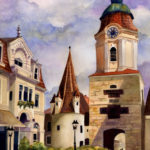 """Travels Collection : Watercolor painting of Krems of Austria by Linda Abblett. Original 15"""" x 22"""" $800"""