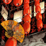 "Travels Collection : Watercolor painting of red luminaries hung high in a building in Hong Kong with carved stone Oriental dragons and a large Oriental fan by Linda Abblett. Original 15"" x 22"" $900; giclee sam size as original $130"