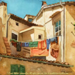 "Travels Collection : Out to Dry, Watercolor painting of laundry hanging outside the window of a home in an Italian city by Linda Abblett. Original 15"" x 11"" $800; giclee 22"" x 16.5"" $130"