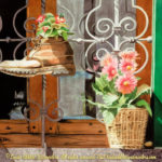 "Travels Collection : Posies of Panzano, Watercolor Paintings by Linda Abblett : Watercolor painting of flower pots and flowers planted in an old pot sitting outside a window in Italy. Original 22"" x 15"" $900; giclee same size as original $130"