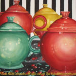 "Still Life paintings : Tea Time II, 15 x 11 Still life watercolor painting with Fiesta Ware teapots by Linda Abblett. Original 11"" x 15"" $575"