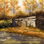 "Travels Collection : Tobacco Shed, Watercolor painting of a tobacco barn in autumn South Carolina by Linda Abblett. Original 15"" x 22"" $850; giclee same size as original $130."