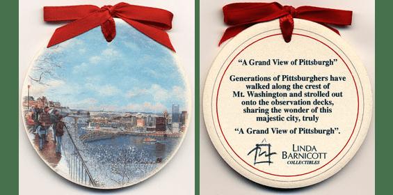 A Grand View Of Pittsburgh Ceramic Ornament Linda