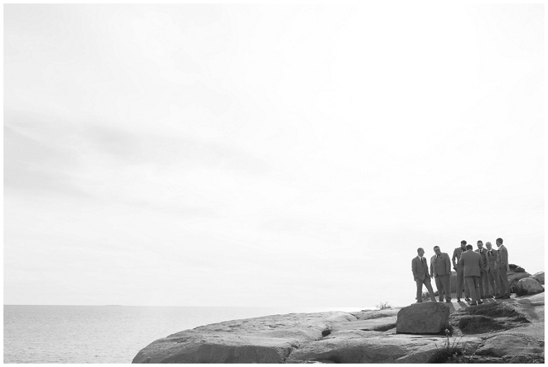 Melanie and Mike were married at Clay Hill Farm in Cape Neddick Maine. Click here to see more beautiful photos by Linda Barry Photography of their burgandy and navy wedding day! Groomsmen at Nubble Lighthouse.