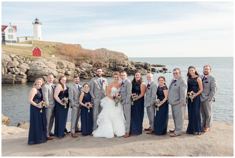 Melanie and Mike were married at Clay Hill Farm in Cape Neddick Maine. Click here to see more beautiful photos by Linda Barry Photography of their burgandy and navy wedding day! Nubble Lighthouse wedding party photos.