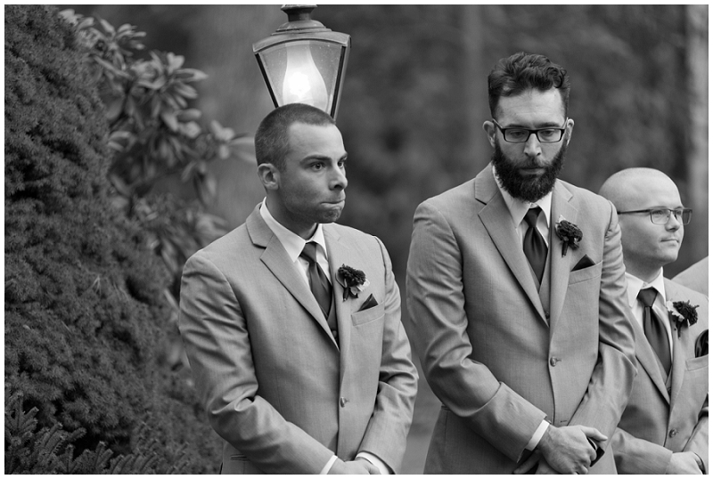 Melanie and Mike were married at Clay Hill Farm in Cape Neddick Maine. Click here to see more beautiful photos by Linda Barry Photography of their burgandy and navy wedding day! Emotional groom at wedding ceremony.