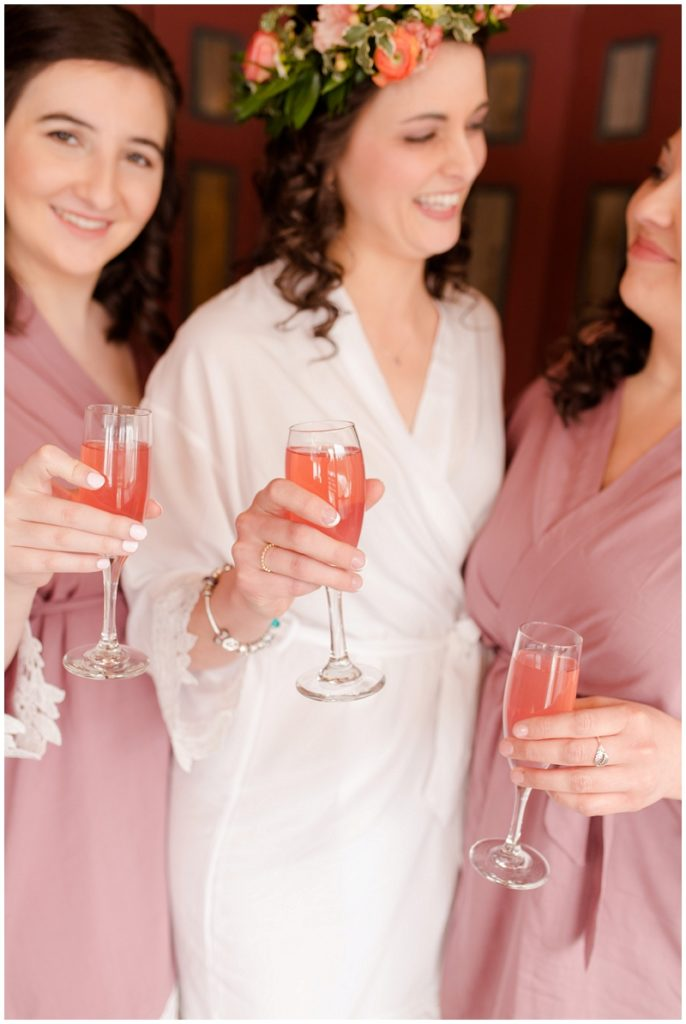 Emily and Nick were married at Stone Mountain Arts Center. Click here to see more wedding images by Linda Barry Photography. Bridesmaids robes photo.