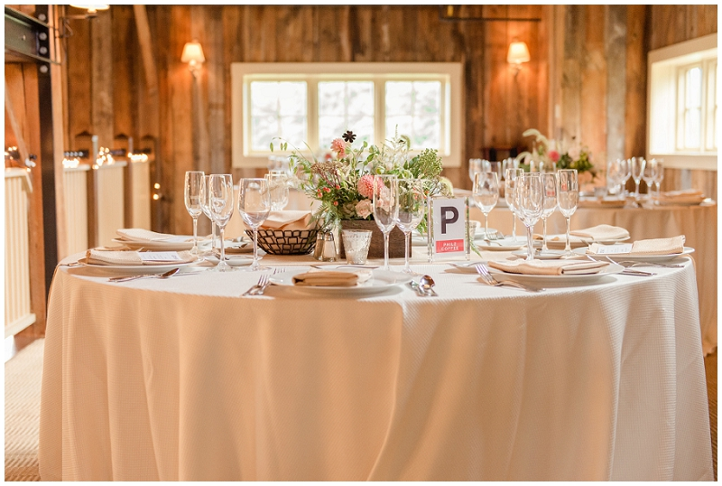 A full table setting. A summer wedding at the Barn at Gibbet Hill. Photos by Linda Barry Photography, a Boston based wedding photographer.