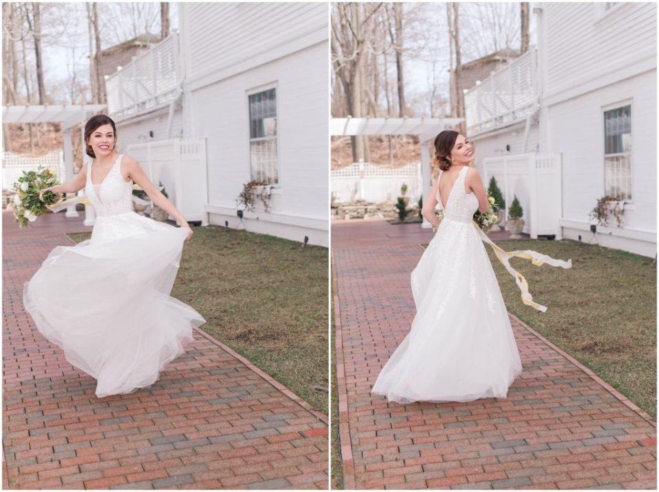 Bridal portraits, twirling the wedding dress!