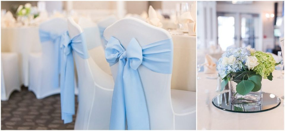 Reception details for this summer wedding at the woodlands club.