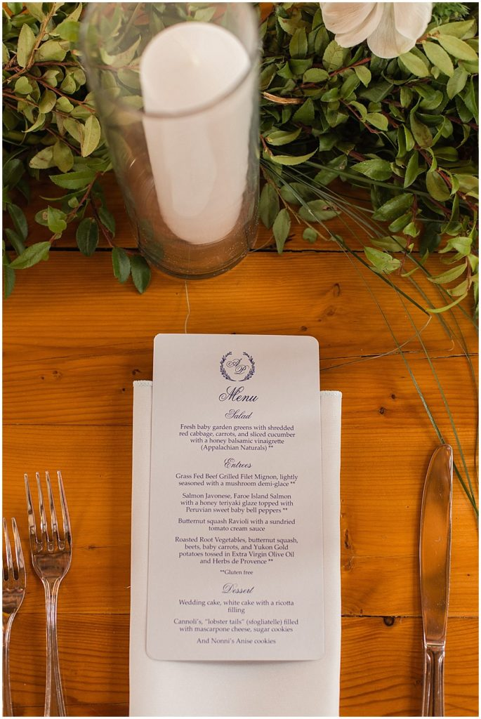The menu place setting at this Valley View Farm wedding.
