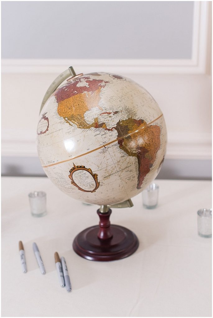 world globe for a guest book at this wedding at The Meadows.