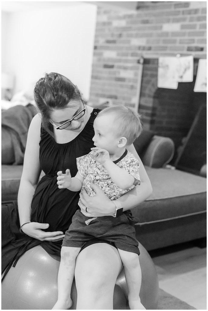 Since Emily opted for a home birth, her son Harrison was involved for a little bit.
