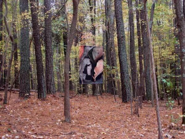 """""""Leaves after Géricault,"""" woodland banner by Steven Durland."""