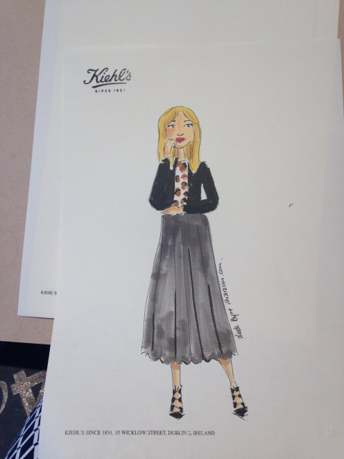 Fashion Illustration from Primark Dublin live sketch event with Kiehl's by illustrator Linda Byrne
