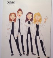 Fashion sketch of Kiehl's Wicklow st Dublin staff by illustrator Linda Byrne