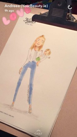 Fashion illustration of blogger YourBeauty.ie by illustrator Linda Byrne at Kiehl's live sketch event