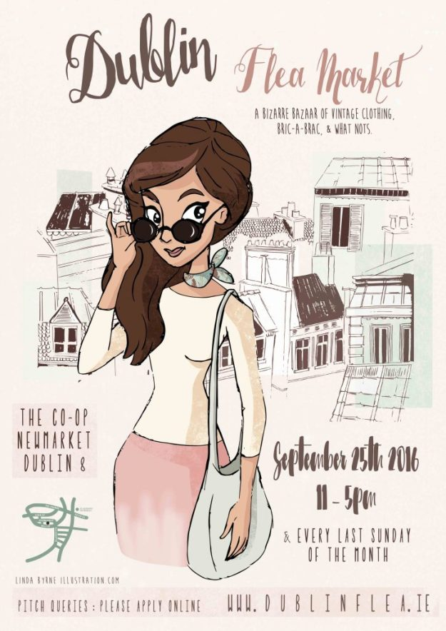 Dublin Flea Market, Poster, Design, illustration, Linda Byrne, Fashion illustration, City illustration