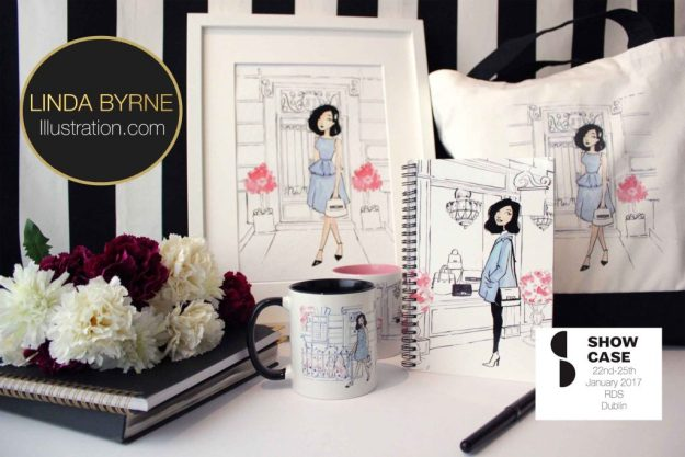 Linda Byrne Illustration, Showcase Ireland 2017, Linda Byrne fashion illustration. Fashion illustration mugs, fashion illustration notebook. Dublin fashion illustrator