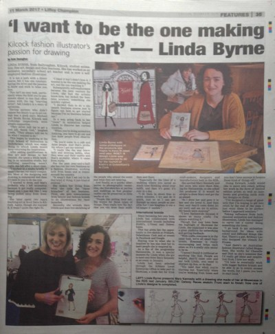 Linda Byrne Illustration, Liffey Champion Feature, newspaper, fashion illustrator, Kildare, artist