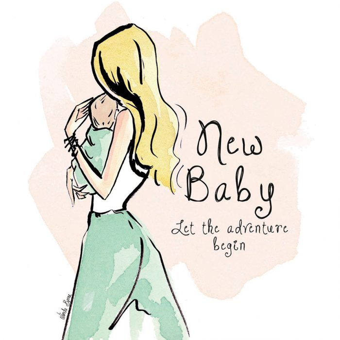 New baby green greeting card linda byrne illustration greeting card linda byrne illustration linda byrne fashion new baby greeting card m4hsunfo
