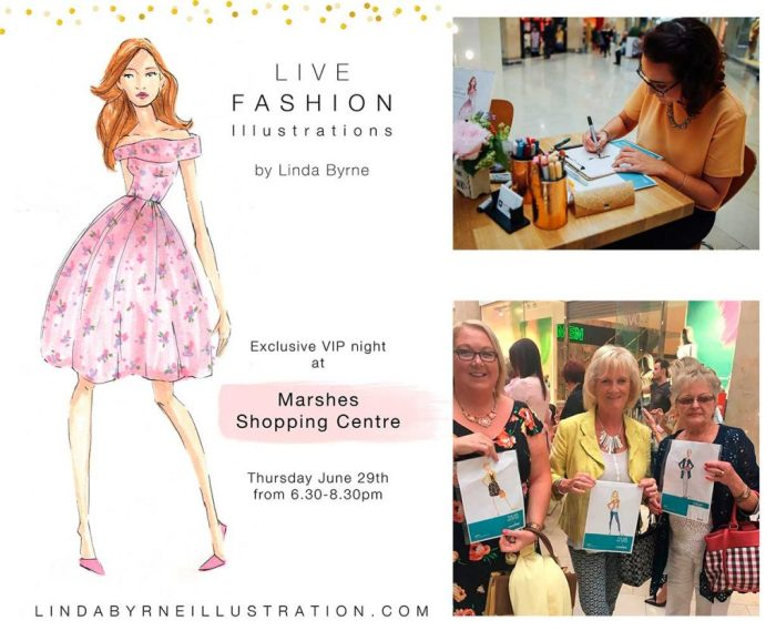 Marshes,Art of Style Fashion Show Event, Live Illustration event, Linda Byrne Illustration, Marshes Shopping Centre, Fashion event, Irish Illustrator, Fashion Illustrator, event illustration