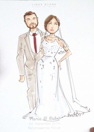 Live Wedding Illustration Linda Byrne, Wedding Illustrator, Ireland, Wedding Artist
