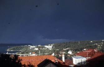 A Storm brewing over Middle Harbour taken from our sunroom in the Muston St flat, in the 60's.