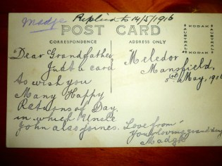 5.5.1916 from granddaughter Madge to WBC