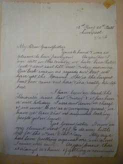 7/4/16 Liverpool. Letter from grandson Howard Cairnes Steel. His brother Arthur killed in France 11/8/18