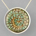 Green-Turquoise-Fossil-Silver-Moon-Pendant