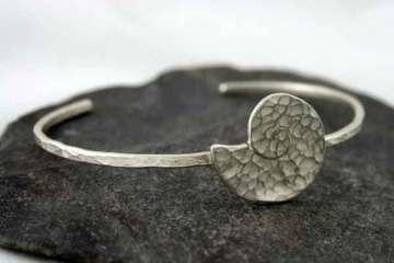 Silver Ammonite Fossil Cuff
