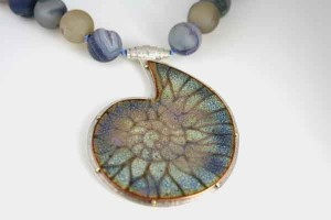 Blue Ammonite Fossil Necklace with Agate Beads