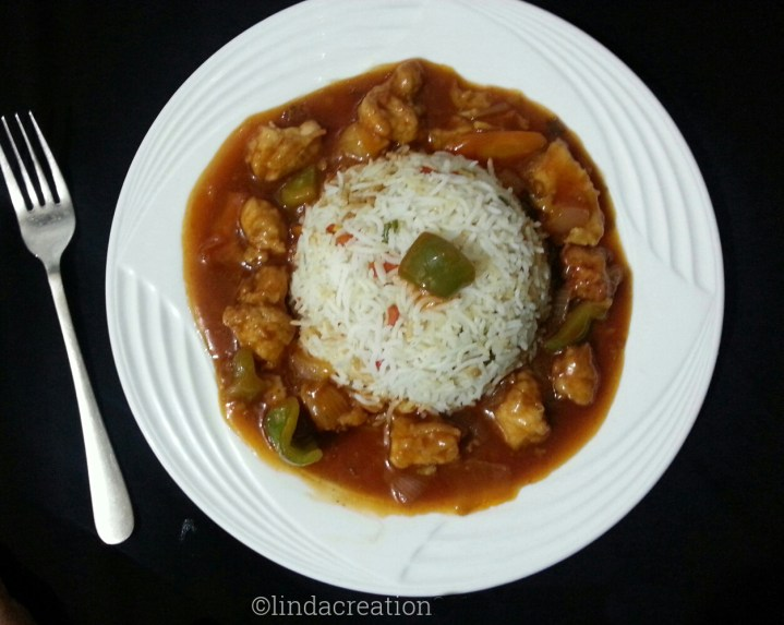 Chicken Manchurian with Vegetables Rice