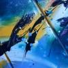 Tableau abstrait coloré bleu jaune violet quadriptyque, peinture abstraite moderne peinte à la main