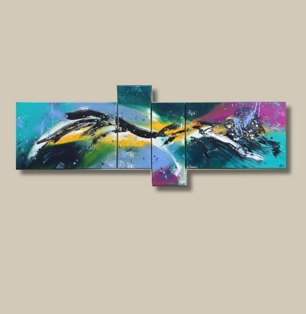 tableau abstrait quadriptyque coloré