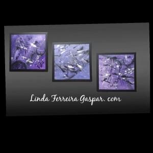 Tableau abstrait moderne violet et noir - Roxo