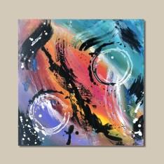 tableau abstrait violet rouge et bleu arco