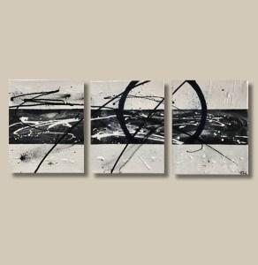 Tableau abstrait triptyque noir et blanc - Loly