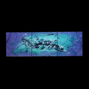 Tableau abstrait moderne, peinture abstraite moderne réalisé à la main violet et bleu turquoise