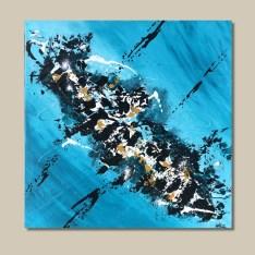 tableau abstrait bleu ocre et noir