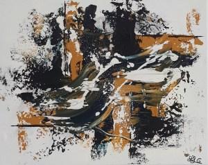 Tableau abstrait contemporain peint à la main bleu et ocre