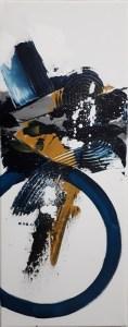 Tableau abstrait moderne, peinture abstraite moderne réalisé à la main bleu et ocre - Maya