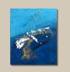 tableau abstrait bleu et doré avec blanc