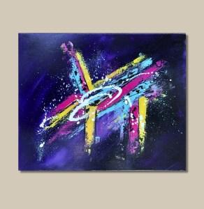 Tableau abstrait coloré violet jaune bleu et rose