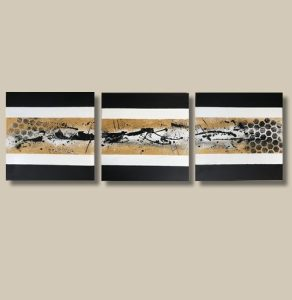 Tableau abstrait moderne triptyque fait main doré noir et blanc - Peniche
