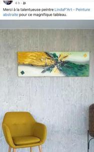 Tableau abstrait moderne fait main ocre et vert chez un client