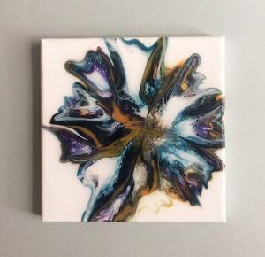 peinture fluide abstraite bleu ocre et violet